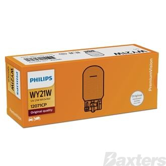 Philips Wedge Globe Amber Ind Light 12V 21W W3x16D WY21W Standard (Pack of 10)