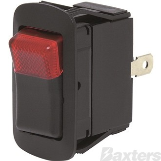 Switch Rocker Cole Hersee 12V 25A ON/OFF Red Illumination IP66 Sealed