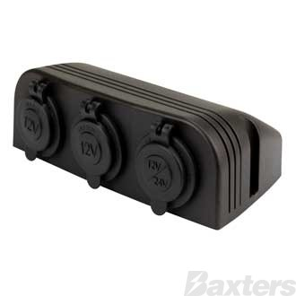 DC x 2 & Engel x 1 Sockets 12/24V 20A Triple Surface Mount Blister Pack
