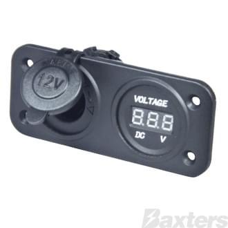 DC Socket & Voltmeter panel Mount [ DC Socket 6 - 30VDC]; [Voltmeter 5 - 30VDC]