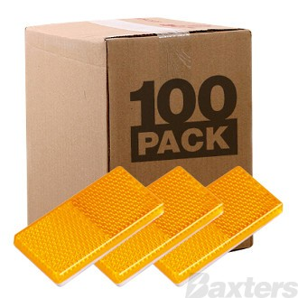 Reflector Adhesive Amber Rect 65 x 30 x 8mm Bulk Pack of 100