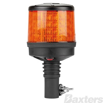 LED Beacon Micro Dual Stack Series 10-30V Amber DIN Pole Mount 64SMD LEDs 43W 10 Function SAE Class 1 90x165mm