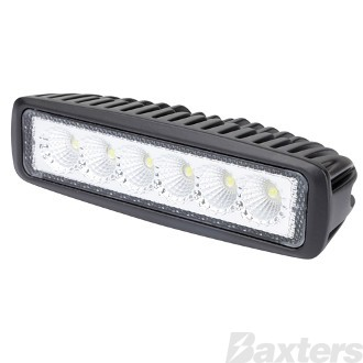 LED Work Light Rect Flood Beam 10-30V 6 x 3W LEDs 18W 1080lm IP67 160x63x45mm Roadvision