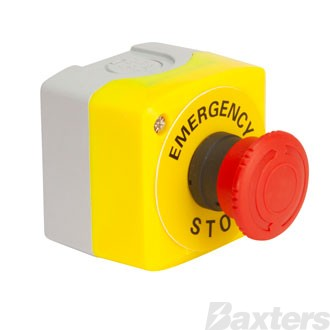 Emergency Stop Switch Push Button Latching Twist to Release Normally Open Contact Normally Closed Contact Polycarbonate Housing